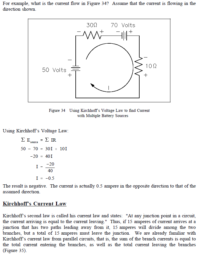 applying kirchhoff's voltage law